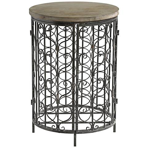 Sonoma Wood Top Aged Iron 2-Door Round Wine Cabinet