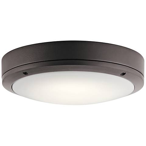 "Kichler Galveston 11"" Wide Bronze LED Outdoor Ceiling Light"
