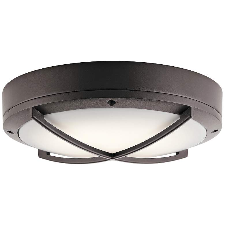 "Kichler Verne 11""W Textured Bronze LED Outdoor Ceiling"