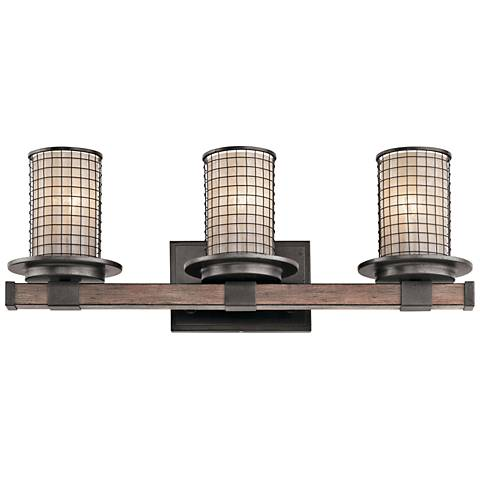 "Kichler Ahrendale 24"" Wide Anvil Iron 3-Light Bath Light"