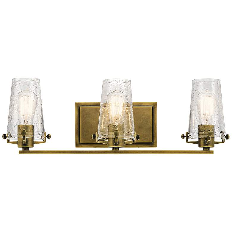"Kichler Alton 24"" Wide Natural Brass 3-Light Bath Light"