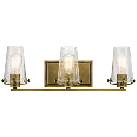 "Kichler Alton 24"" Wide Natural Brass 3-Light Bath Light"
