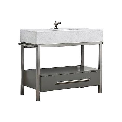 "Denali 40"" White Carrera and Gray Single Sink Vanity"