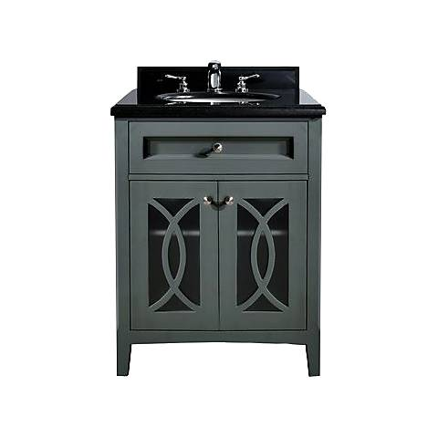 "Grazia 30"" Absolute Black Granite and Gray Single Sink Vanity"