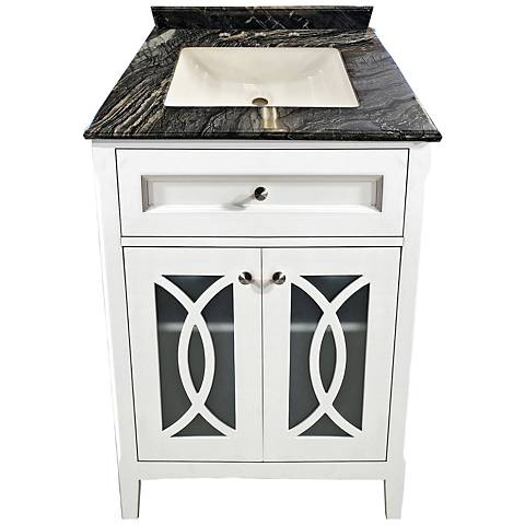 "Grazia 30"" Blackwood Marble and White Single Sink Vanity"