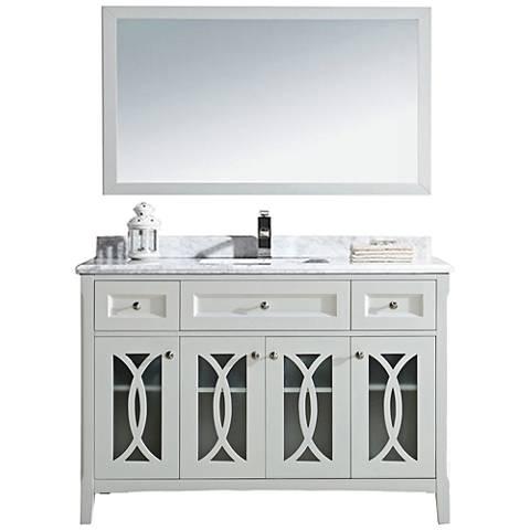 "Grazia 48"" White Carrera and Soft White Single Sink Vanity"
