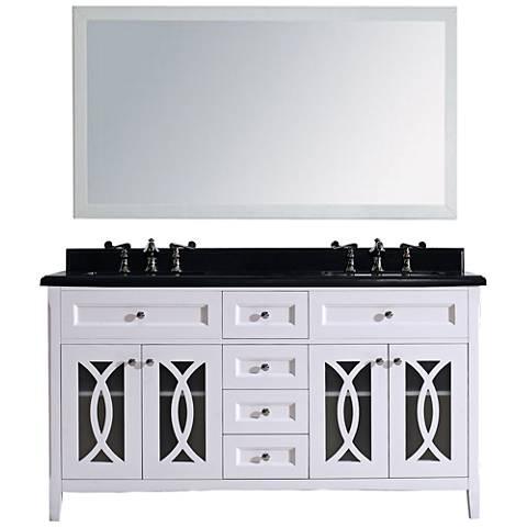 "Grazia 60"" Absolute Black Granite Soft White Double Sink Vanity"