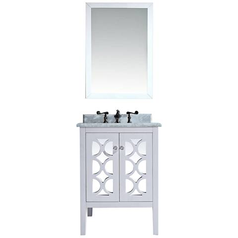 "Mediterraneo 24"" White Carrera and White Single Sink Vanity"