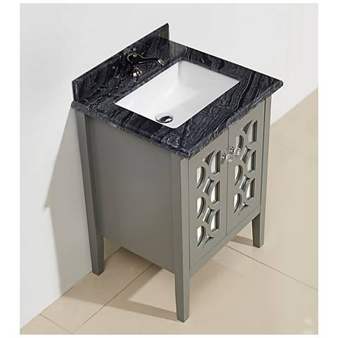 "Mediterraneo 24"" Blackwood Marble and Gray Single Sink Vanity"