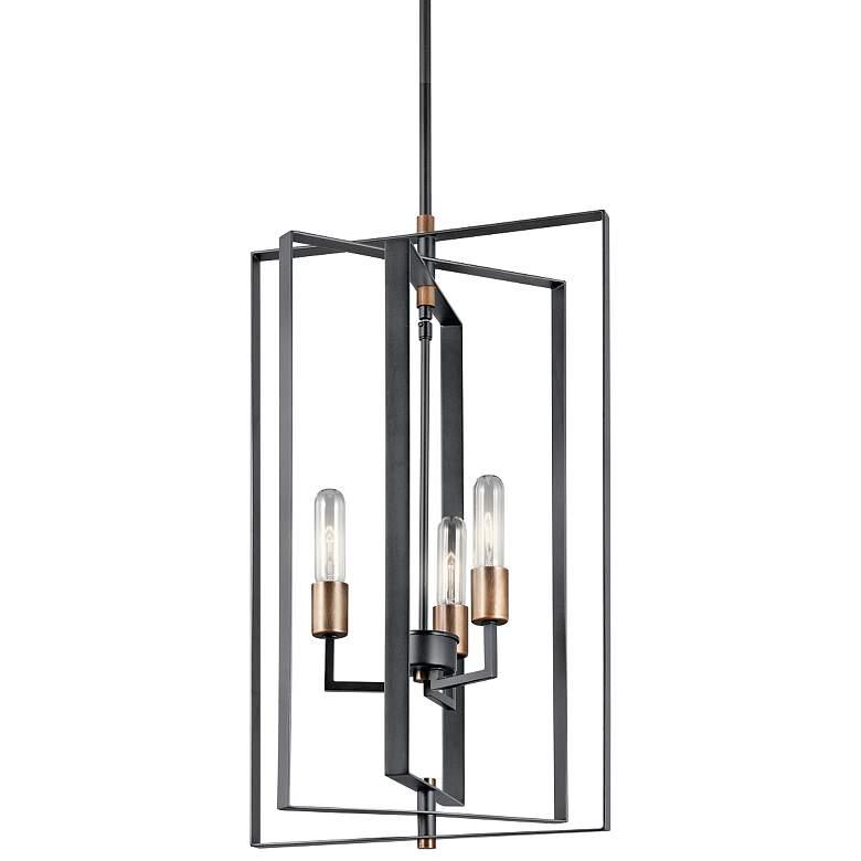 """Kichler Taubert 15"""" Wide Black Steel 3-Light Foyer Pendant"""