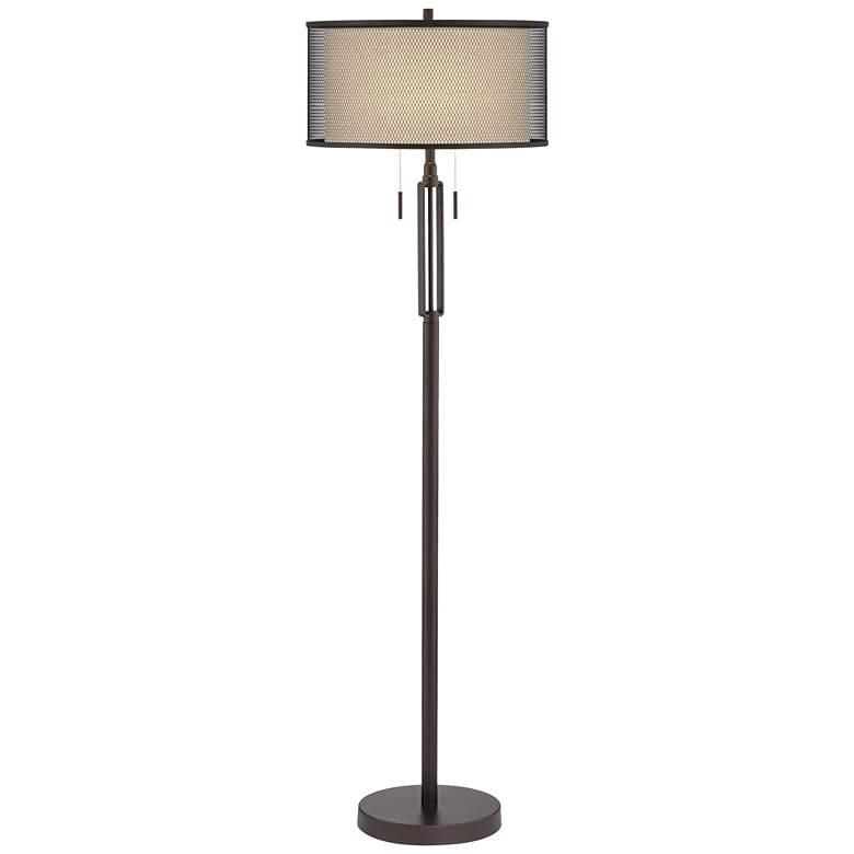 Turnbuckle Bronze Floor Lamp with Double Shade