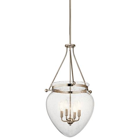 "Kichler Belle 16 1/2""W Polished Nickel 4-Light Foyer Pendant"
