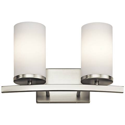 "Kichler Crosby 8 3/4""H Brushed Nickel 2-Light Wall Sconce"