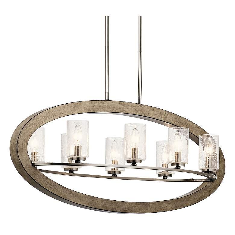 "Kichler Grand Bank 16""W Antique Gray 8-Light Oval Chandelier"