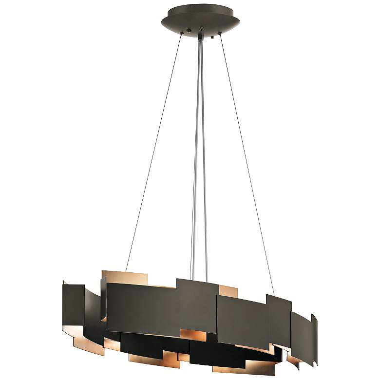 "Kichler Moderne 34 1/4""W LED Olde Bronze Oval Pendant Light"