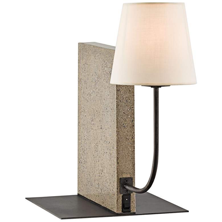 Oldknow Polished Concrete and Aged Steel Bookcase Lamp
