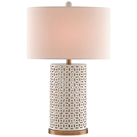 Currey and Company Bellemeade Ivory and Brass Table Lamp
