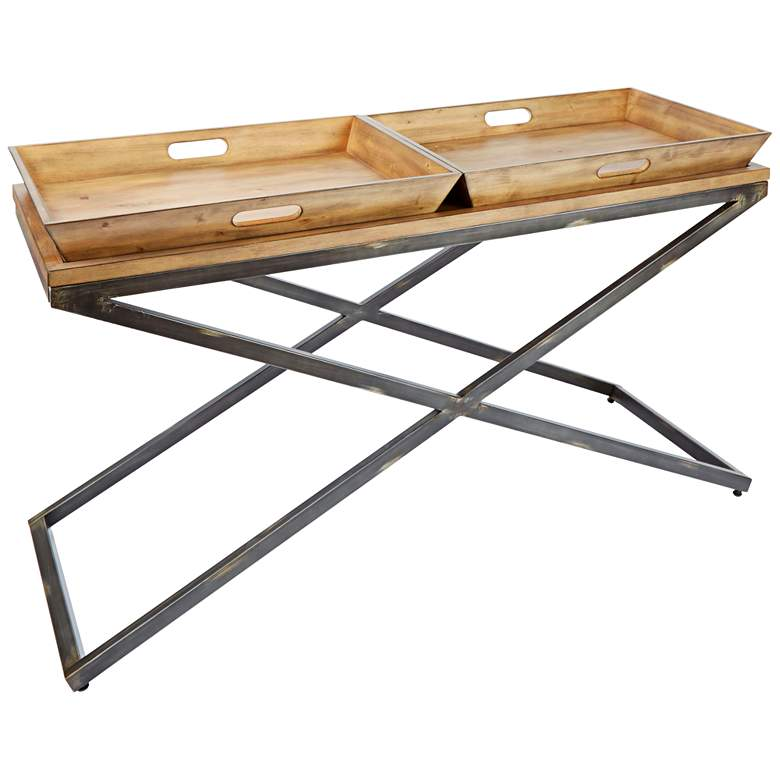 """Calhoun 52"""" Wide Industrial Modern Tray Console Table"""