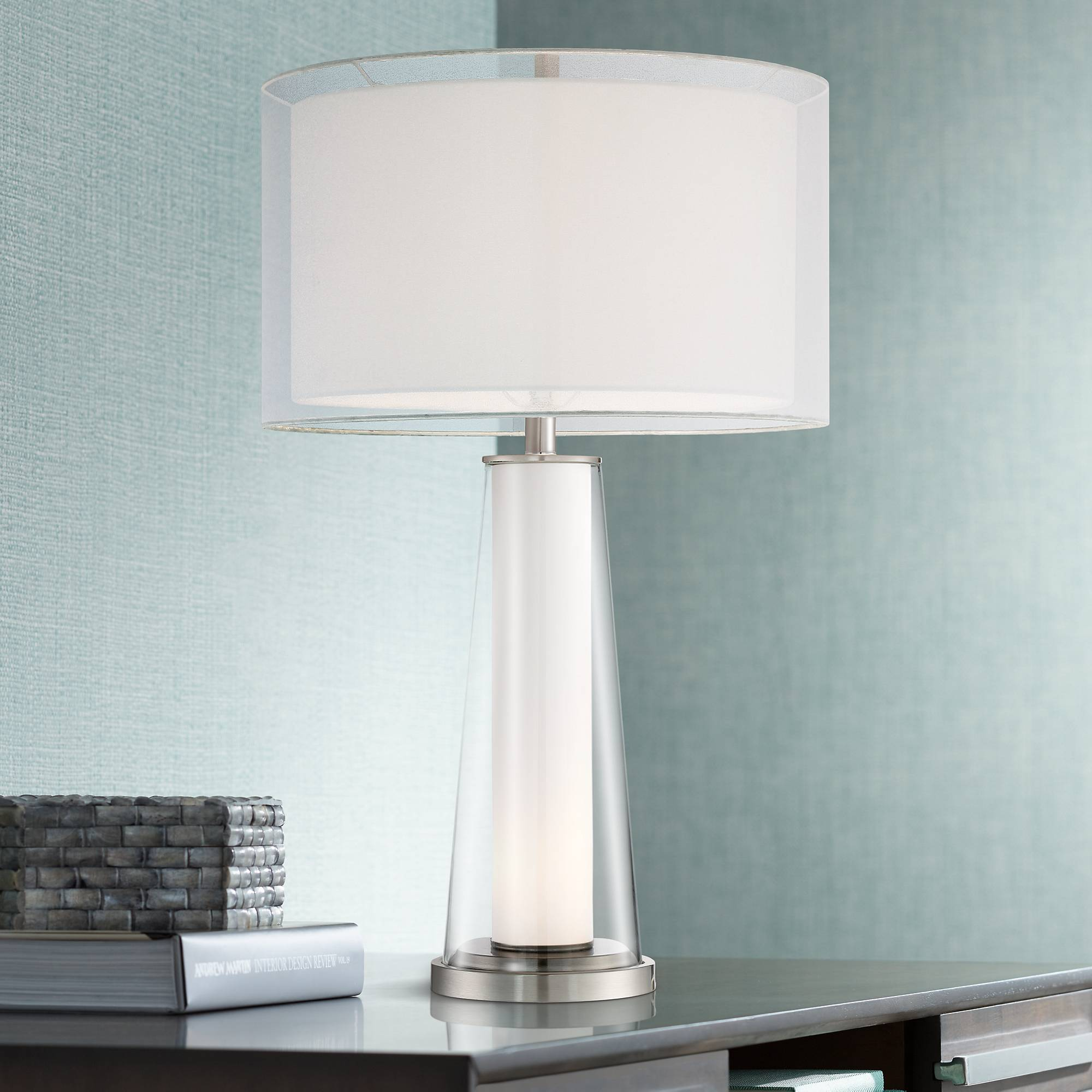 Modern Table Lamp With Nightlight Clear Frosted Glass For Living