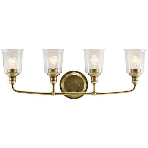 "Kichler Waverly 33"" Wide Natural Brass 4-Light Bath Light"