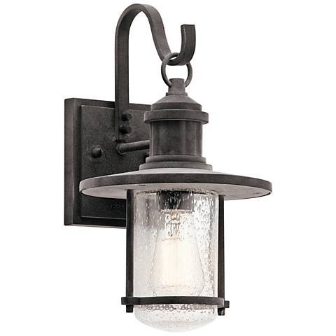 "Kichler Riverwood 14 1/4""H Weathered Zinc Outdoor Wall Light"