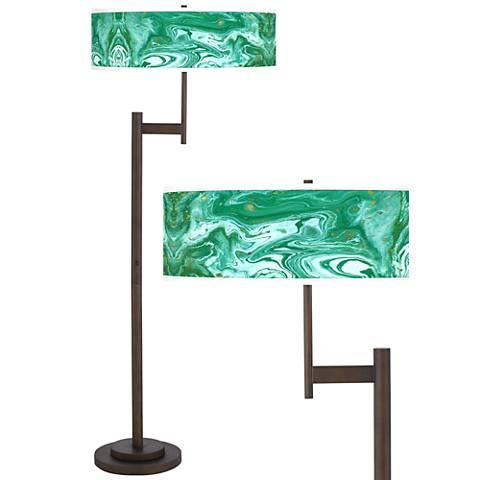 Malachite Giclee Parker Light Blaster™ Bronze Floor Lamp