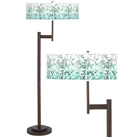 Aqua Mosaic Giclee Parker Light Blaster™ Bronze Floor Lamp