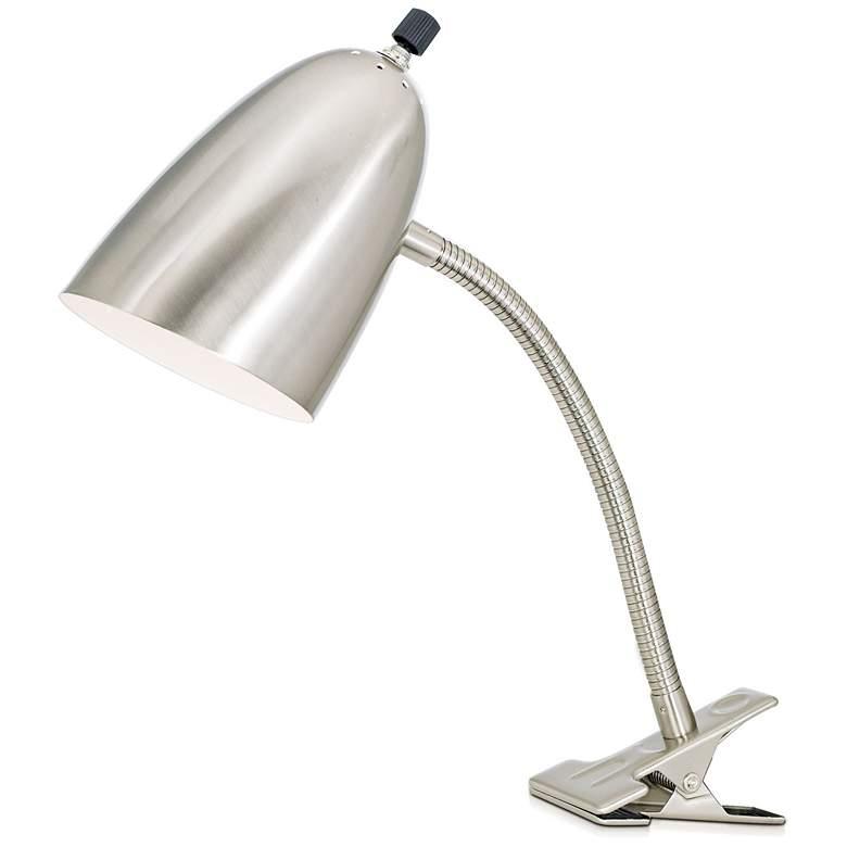 Brushed Steel Gooseneck Clip Lamp with LED Bulb