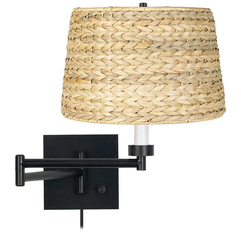 Woven Seagrass Espresso Plug-In Swing Arm Wall Lamp