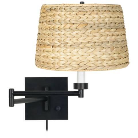 Woven Seagrass Espresso Plug In Swing Arm Wall Lamp