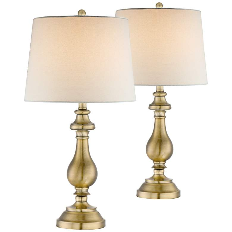 Fairlee Antique Brass Candlestick Table Lamps Set of 2