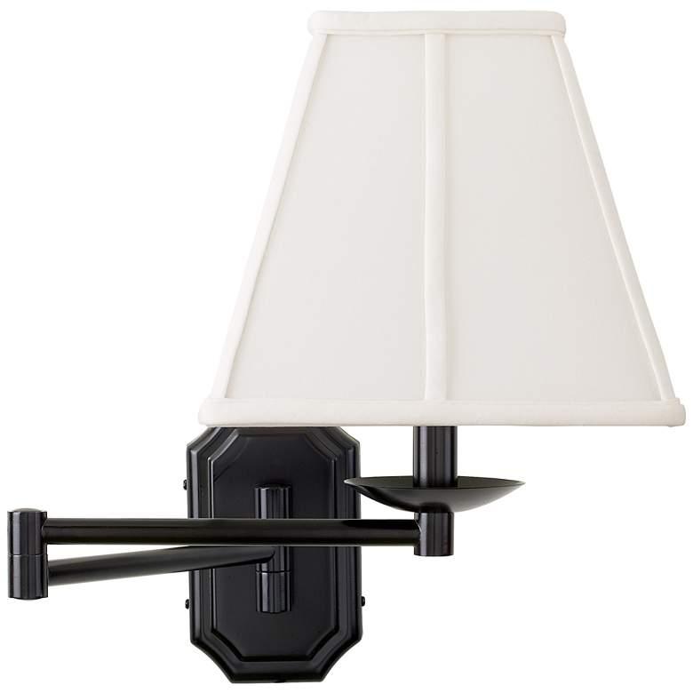 Dark Bronze White Shade Plug-In Swing Arm Wall Lamp