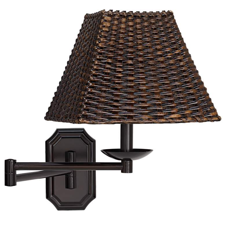Bronze with Walnut Wicker Shade Plug-In Swing Arm