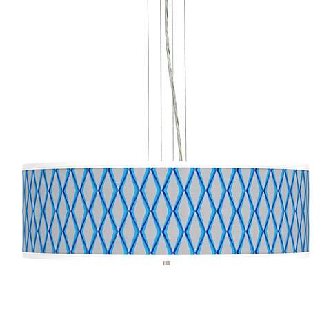 """Bleu Matrix Giclee 24"""" Wide 4-Light Pendant Chandelier"""