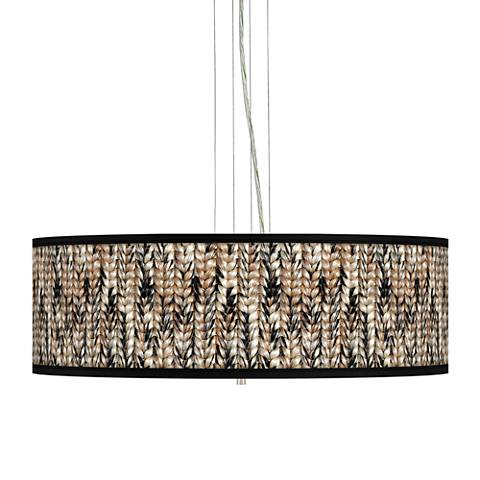 "Braided Jute Giclee 24"" Wide 4-Light Pendant Chandelier"