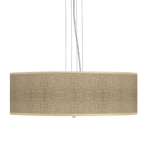 "Burlap Print 24"" Wide Four Light Pendant Chandelier"