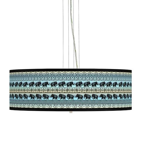 "Elephant March Giclee 24"" Wide 4-Light Pendant Chandelier"