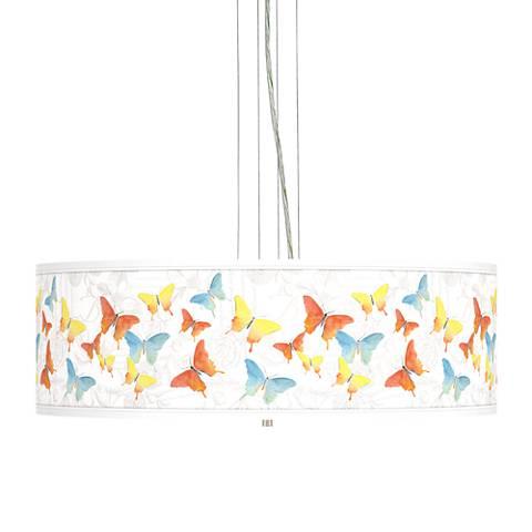 "Pastel Butterflies Giclee 24"" Wide 4-Light Pendant Chandelier"