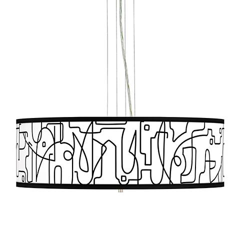 "Scribble World Giclee 24"" Wide 4-Light Pendant Chandelier"