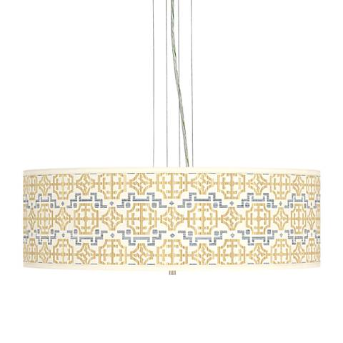 "Willow Chinoiserie Giclee 24"" Wide 4-Light Pendant Chandelier"
