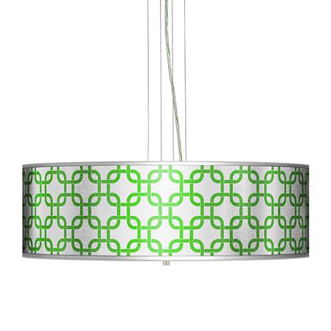 "Lattice Silver Metallic II 24"" W 4-Light Pendant Chandelier"