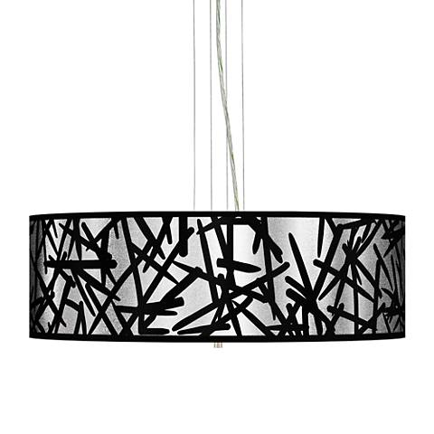 "Sketchy Silver Metallic 24"" W 4-Light Pendant Chandelier"