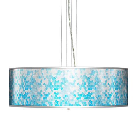 "Mosaic Silver Metallic Giclee 24"" Wide 4-Light Pendant Chandelier"