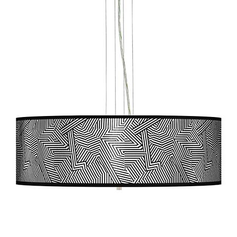 "Labyrinth Silver Metallic 24"" W 4-Light Pendant Chandelier"