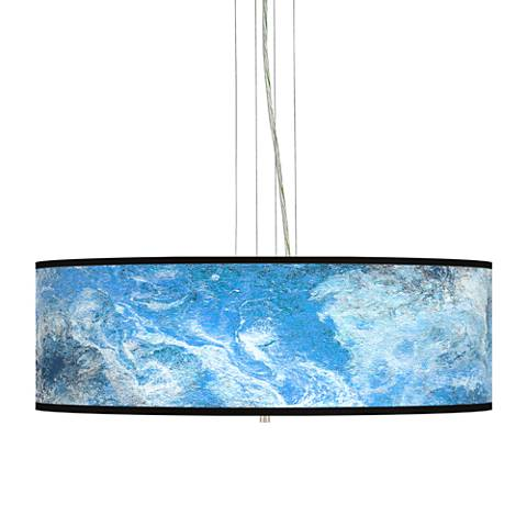 "Ultrablue Giclee 24"" Wide 4-Light Pendant Chandelier"