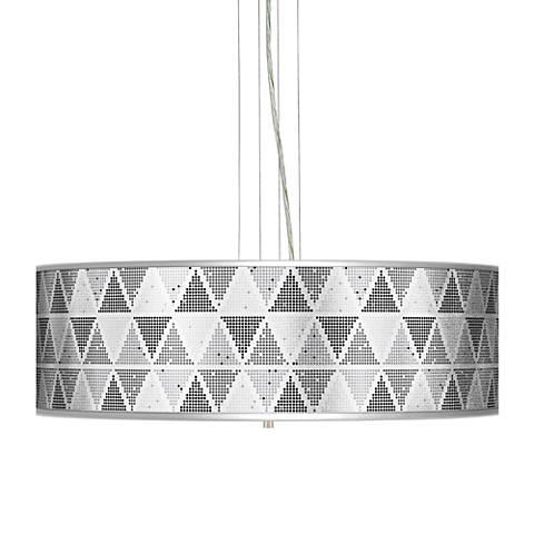 "Pointillism Silver Metallic 24"" Wide 4-Light Pendant Chandelier"