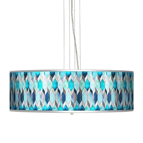 "Blue Tiffany-Style Silver Metallic 24"" Wide 4-Light Pendant"
