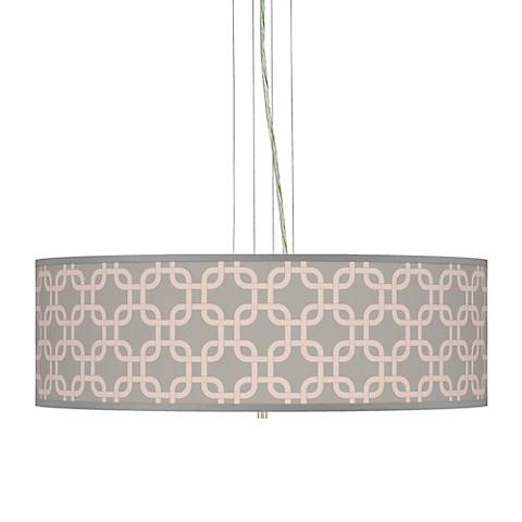 "Smoke Lattice Giclee 24""W Four Light Pendant Chandelier"