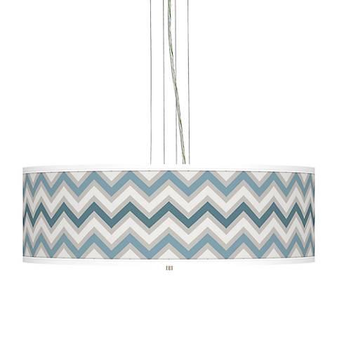 "Wave Zig Zag Giclee 24""W Four Light Pendant Chandelier"