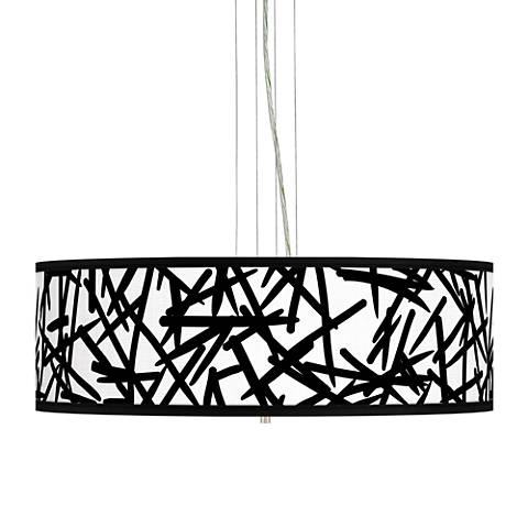 "Sketchy Giclee 24"" Wide 4-Light Pendant Chandelier"